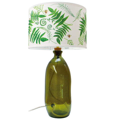Recycled Green Glass Lamp with Hand painted Bee Lampshade; 20% off
