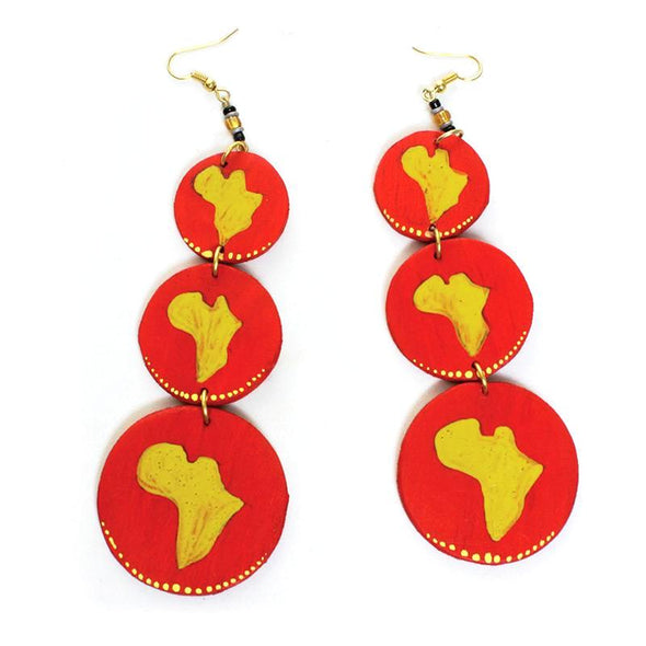 Red Wooden Map-Of-Africa Earrings