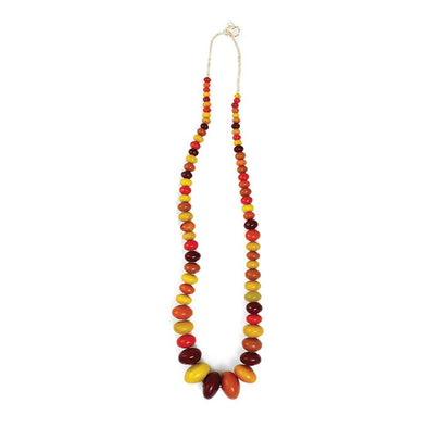 Extra Large Amber Beaded Necklace - Multicolor