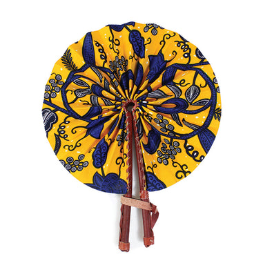 Botanical African Print Leather Folding Fan