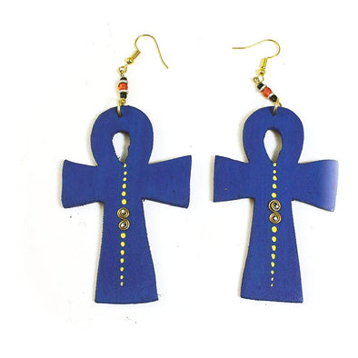 Blue Wood Ankh Earrings