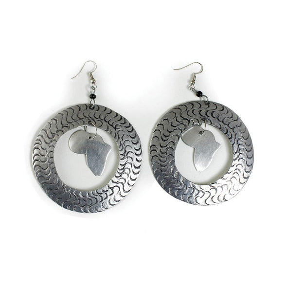 Silver Hoop Africa Map Earrings