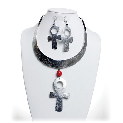 Metal Ankh Choker & Earring Set