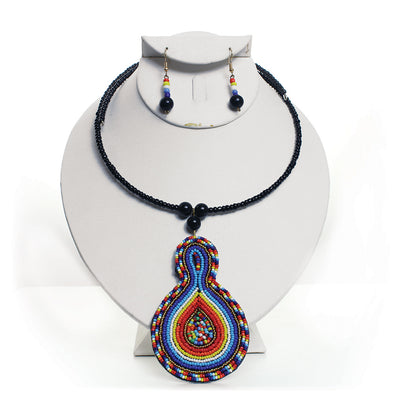 Maasai Bead Leather Pendant Choker Set