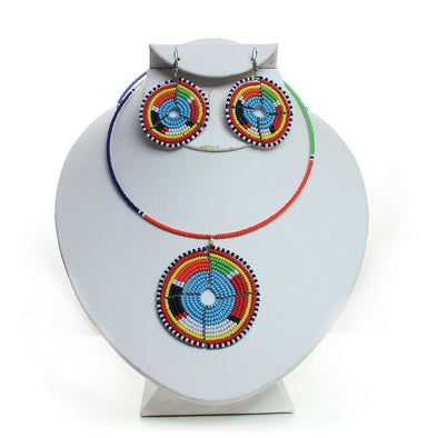 Maasai Beaded Circle Choker & Earrings