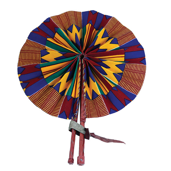 Blue & Orange Kente Folding Fan