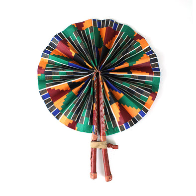 Checkered Kente African Folding Fan