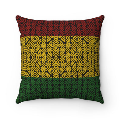 Rasta Print Throw Pillow African Design | Home Decor | Spun Polyester Square Pillow
