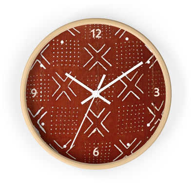 Brown Mudcloth Wall clock