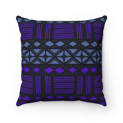 Black Mudcloth Throw Pillow Print Mali BW | Spun Polyester Square Pillow