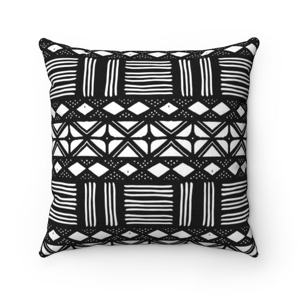 Mudcloth Throw Pillow Print Mali BW | Spun Polyester Square Pillow