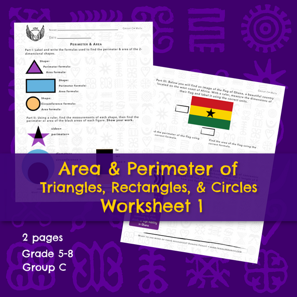Area & Perimeter Worksheet 1 (Triangles, Rectangles,& Circles) • Digital Download