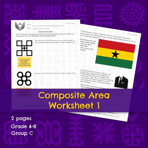 Adinkra Composite Area Math Worksheet 1  • Digital Download