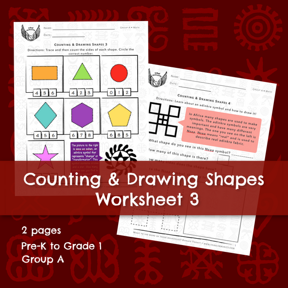 Adinkra Counting & Drawing Shapes Worksheet 3 • Digital Download