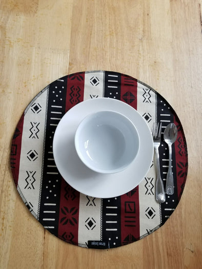 Round Multi Brown/Black Mudcloth Print Placemat 16-inch