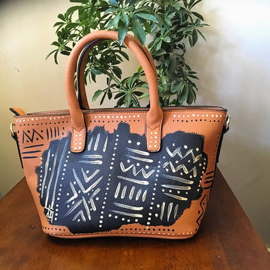 Mudcloth Handpainted Mini Tote Handbag