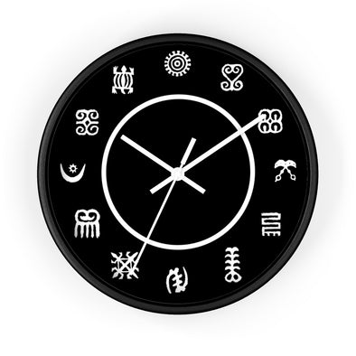 Black Adinkra Wall clock