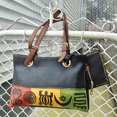 Adinkra | Hand-painted Vegan Leather Zipper Tote with Coin Purse