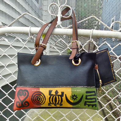 Handpainted Adinkra Symbol Zipper Tote with Coin Purse