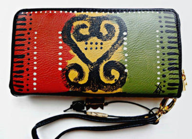 Women's Single Zipper Adinkra Wallet