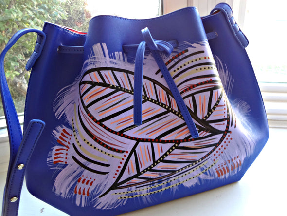 Jina Blue Handpainted Drawstring Satchel