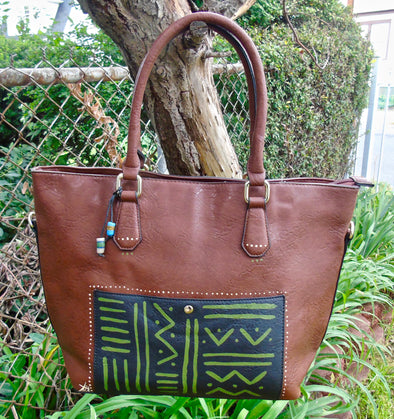 Tsehai Hand Painted Faux Leather Tote [Mudcloth]
