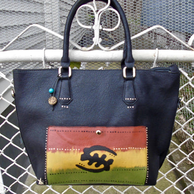 Tsehai Hand Painted Faux Leather Tote [Gye Nyame]