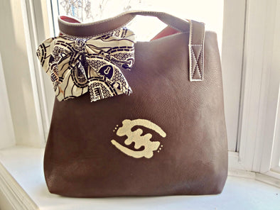 Handpainted Gye Nyame Tote with African Print Bow
