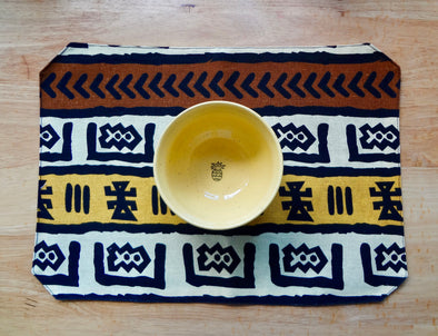 Brown & Yellow Mudcloth Print Decorative Placemat