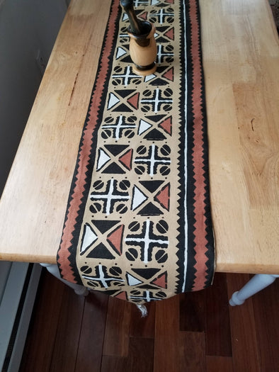 Artisan Made African Print Tablerunner With Tassels 72 Inch