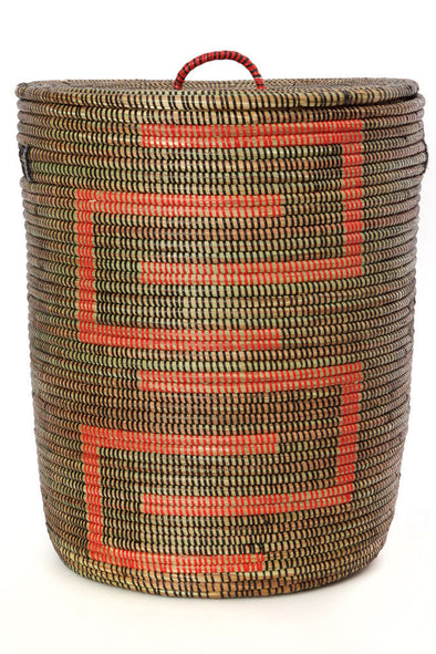 Medium Black and Red Kumba Hamper Natural Eco Friendly Hand Woven