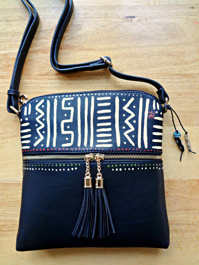 Handpainted Mudcloth-Inspired Tassle Crossbody