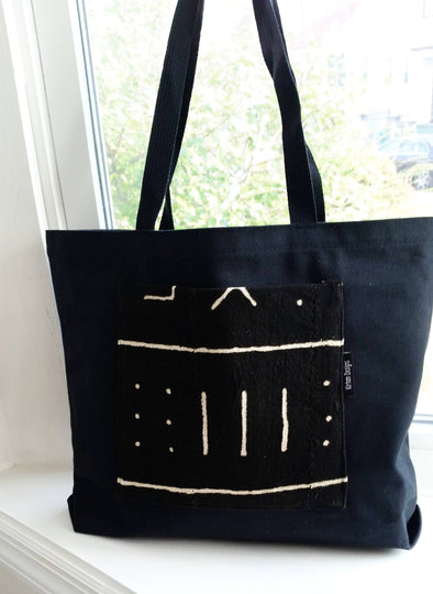 The Studier Mudcloth black canvas tote
