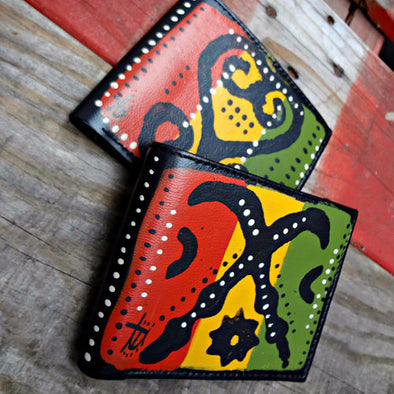 Men's Bi-fold Hand-painted Adinkra Wallet