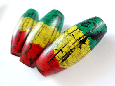 Set of 3 Large Handpainted Rasta Wooden Beads 15x22mm