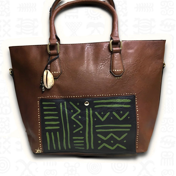 Tsehai | Hand Painted Vegan Leather Tote in Brown