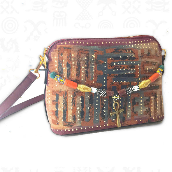 Ankh Nkyinkyim | Hand-painted Beaded Vegan Leather Crossbody Bag in Purple