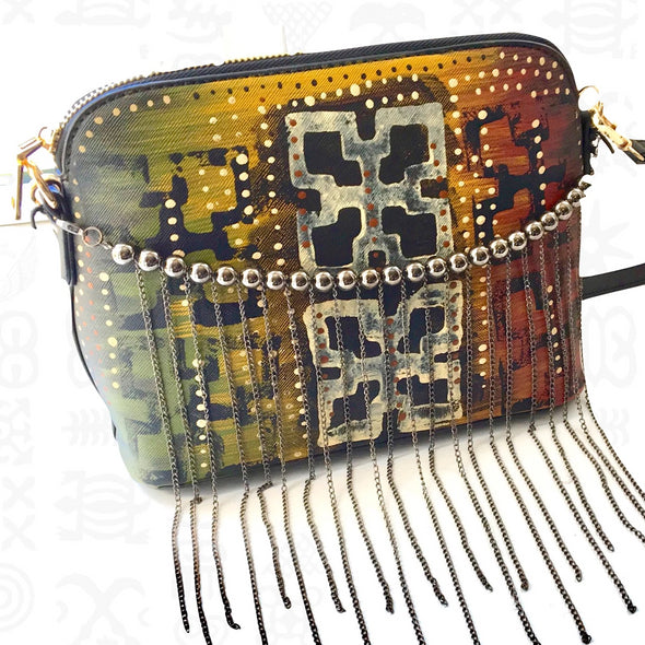 Nsaa | Hand-painted Beaded Vegan Leather Crossbody Bag in Black