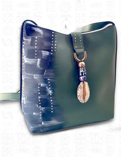 Cowrie | 2-in-1 Green Handpainted Vegan Leather Crossbody