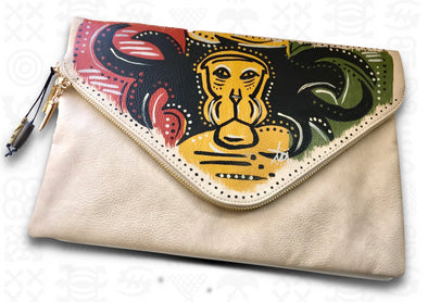 Lion | Handpainted 2-in-1 Envelope Clutch with Removable Strap