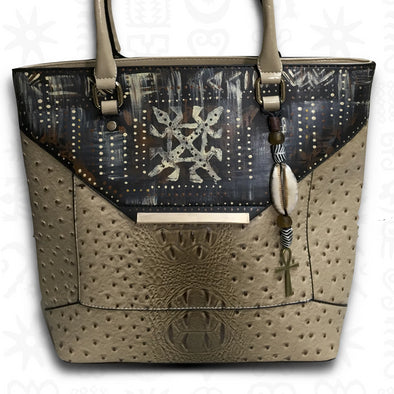 Siamese Crocodile | Extra-Large Hand-painted Adinkra Vegan Leather Tote