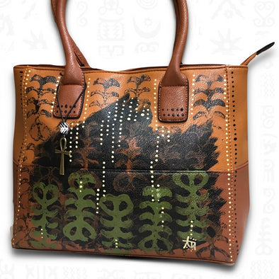 Aya | Hand-painted Vegan Leather Tote Bag in Brown