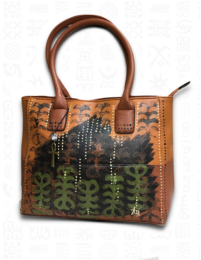 Aya | Hand-painted Tote Bag in Brown