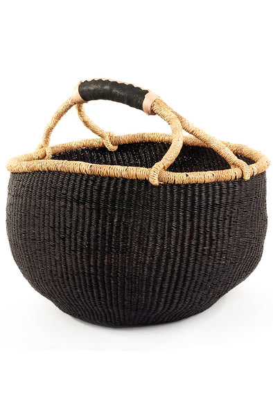 Black Bolga Basket with Leather Handles