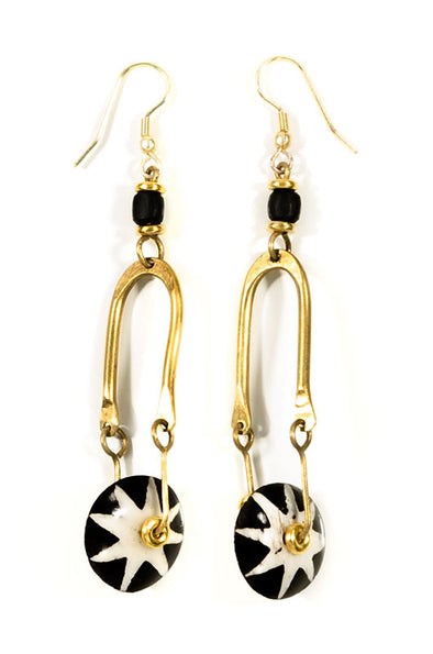 Kenyan Brass and Batik Earrings