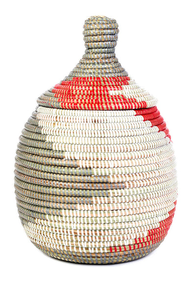 Lidded Gourd Basket - Red, Silver & White