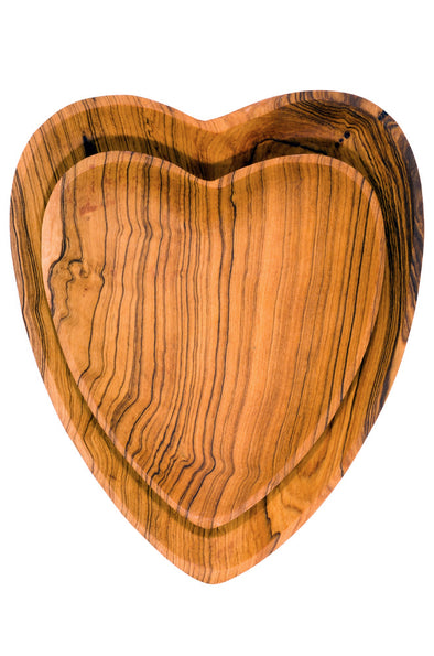 Set of 2 Olive Wood Heart Serving Plates