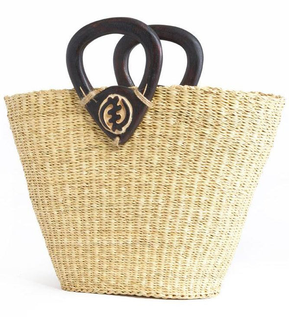 Adinkra V-shaped Elephant Grass Shopper with Gye Nyame