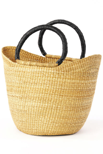 Natural Ghanian Wing Shopper with Black Handle