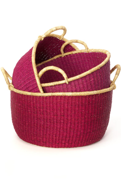 Set of 3 Cranberry Woven Baskets